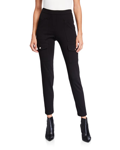 Jenny Slim Pull-On Ponte Pants with Cargo Details