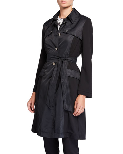 Mary Water Resistant Belted Trench Coat w/ Tartan Plaid Trim