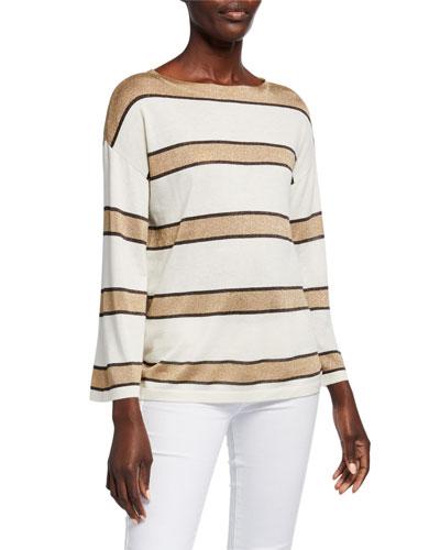 Superfine Cashmere Metallic Striped Boat-Neck Pullover Sweater