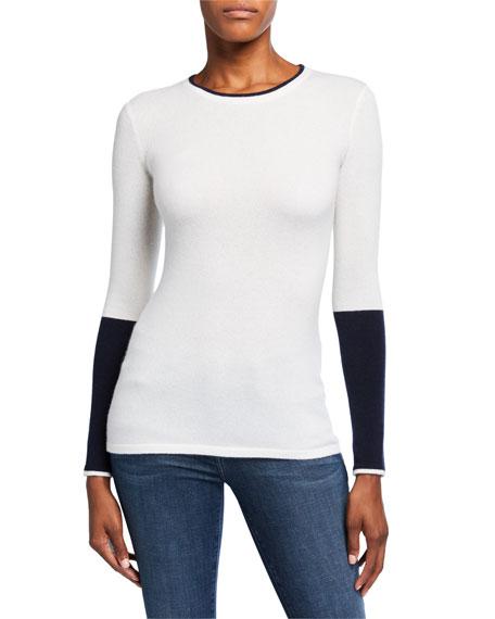 Neiman Marcus Cashmere Collection Colorblock Crewneck Long-Sleeve Cashmere Sweater