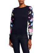 Neiman Marcus Cashmere Collection Floral-Sleeve Crewneck