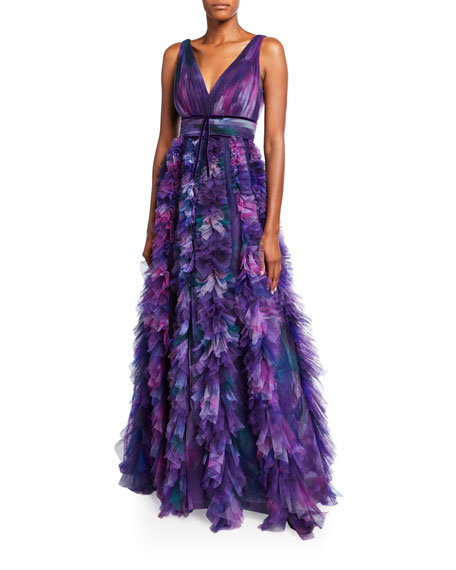 Marchesa Notte Printed V-Neck Sleeveless Textured Tulle A-Line Gown