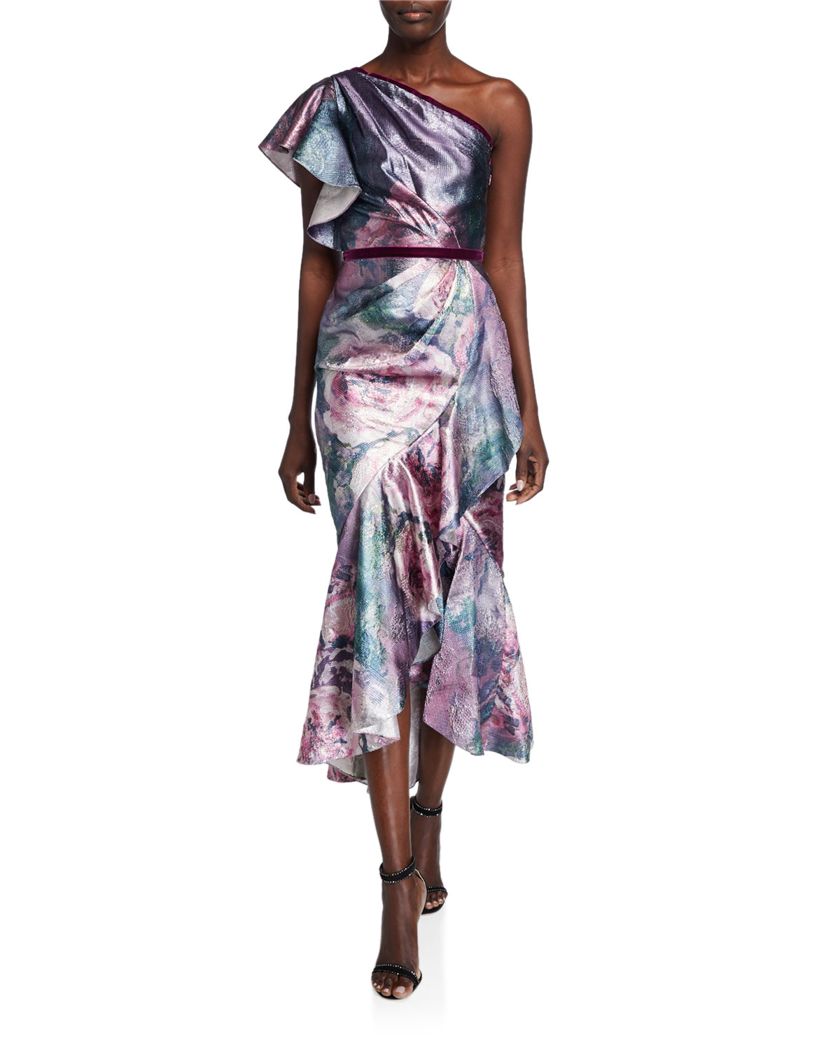 Marchesa Notte Dresses METALLIC JACQUARD ONE-SHOULDER TEA LENGTH DRESS W/ RUFFLE DETAILING