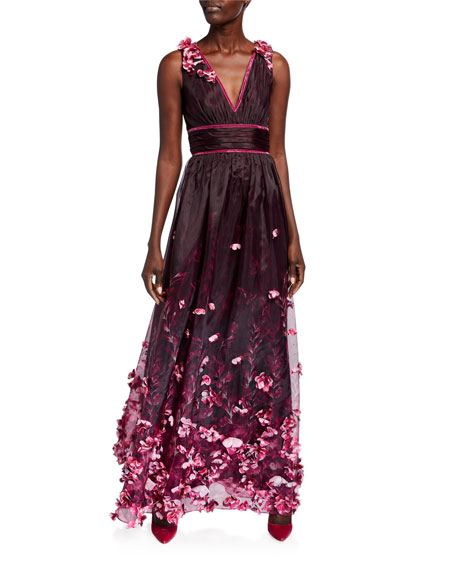 Marchesa Notte Printed Organza V-Neck Sleeveless Gown w/ 3D Flower Degrade
