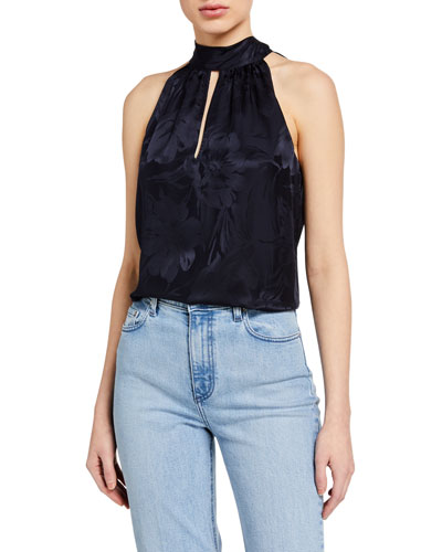 Kendall Floral Jacquard High-Neck Top