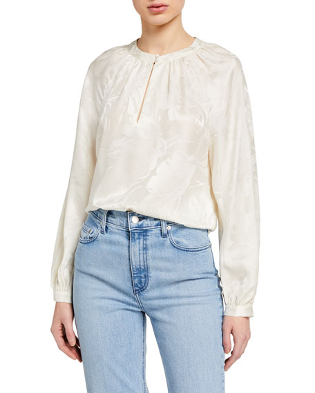 Tanya Taylor Amy Silk Jacquard Long-Sleeve Top
