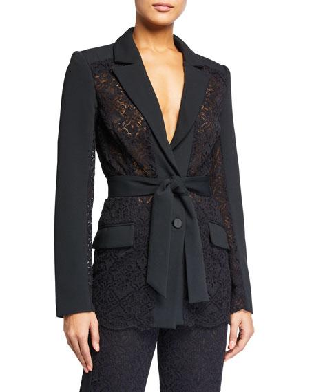 Jonathan Simkhai Multimedia Lace Belted Blazer