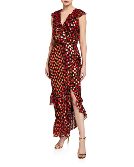 Saloni Anita Printed Metallic Ruffle Cocktail Dress