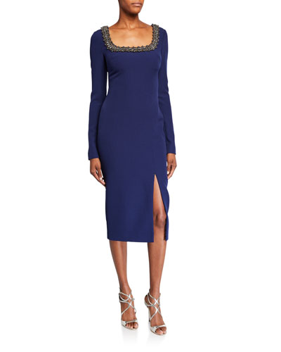 Beaded Square-Neck Long-Sleeve Dress w/ Front Slit