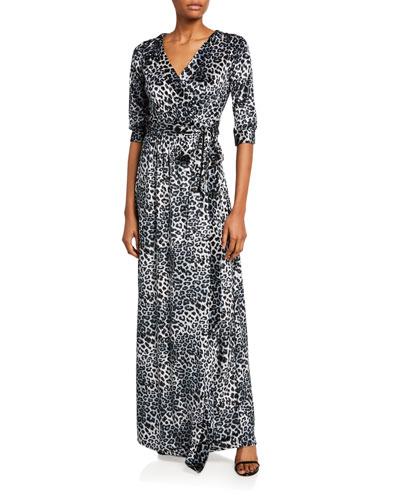Plus Size Leopard Crushed Knit Velvet Long Wrap Dress