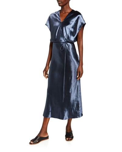 Metallic Flutter-Sleeve Midi Dress