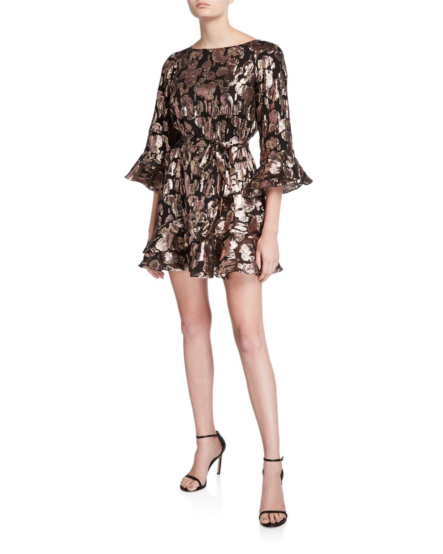 Saloni Dresses MARISSA METALLIC RUFFLE COCKTAIL DRESS