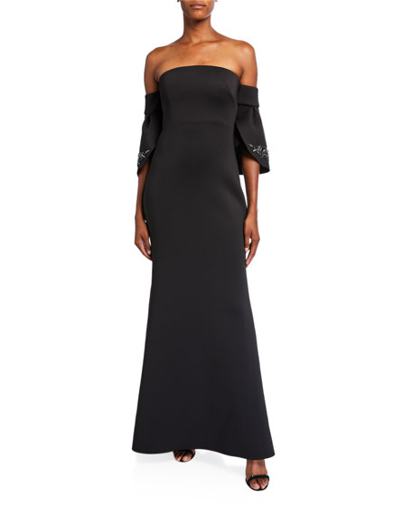 Badgley Mischka Collection Off-the-Shoulder Petal-Sleeve Scuba Gown