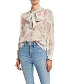 LoveShackFancy Lois Floral Tie-Neck Long-Sleeve Silk Top