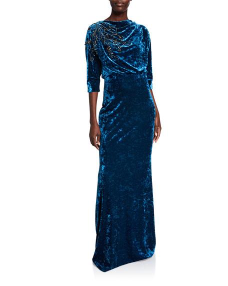 Badgley Mischka Collection Beaded Velvet High-Neck Column Gown