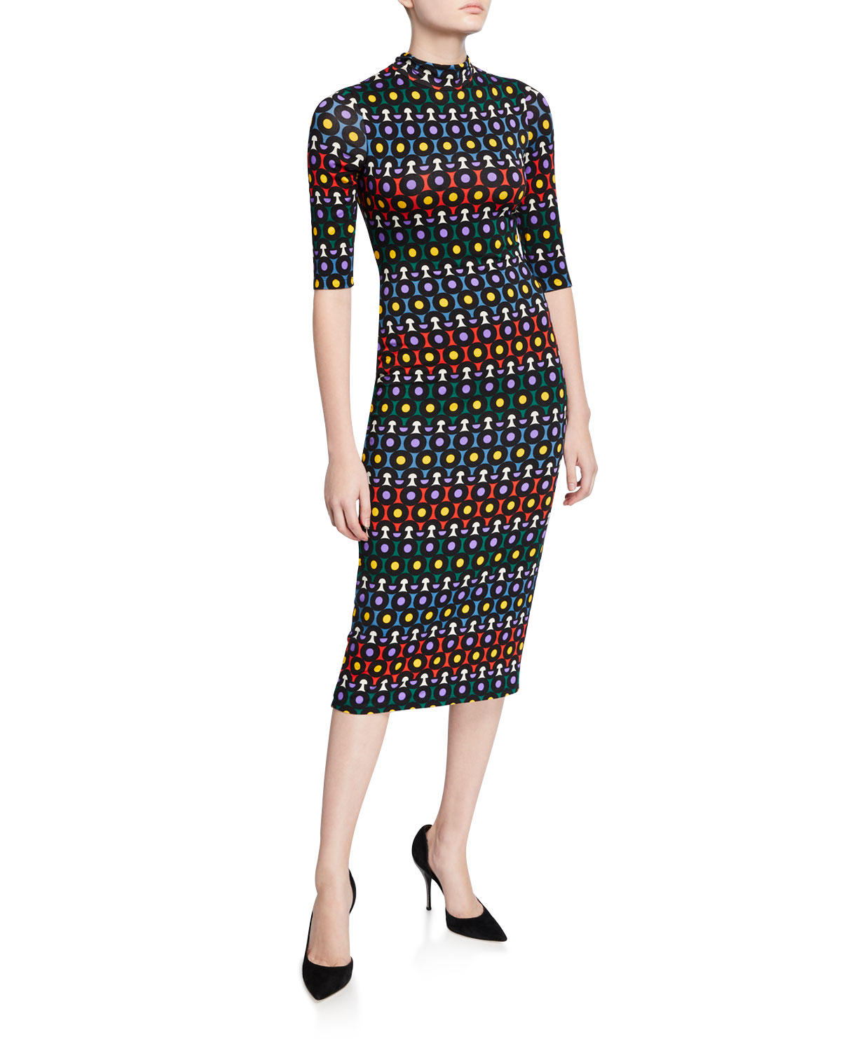 Alice And Olivia Dresses Delora Printed Mock-Neck Elbow-Sleeve Fitted Midi Dress