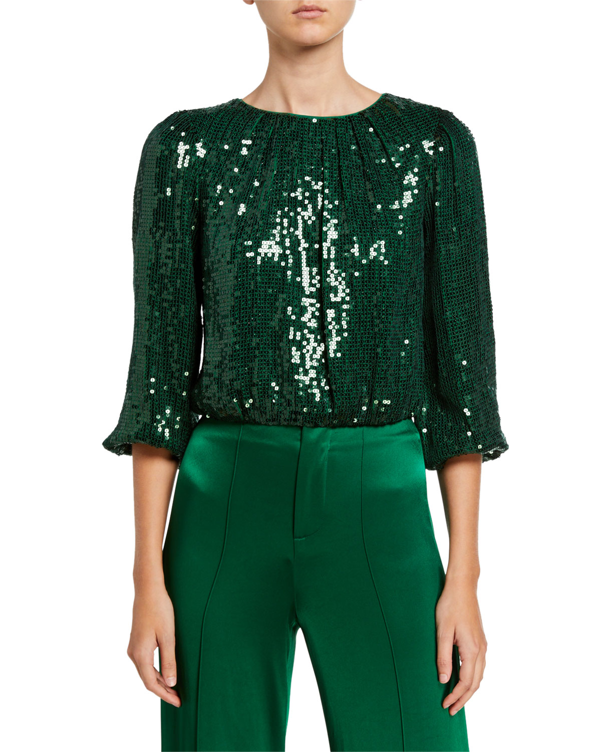 Alice And Olivia Tops AVILA SEQUINED CREWNECK BLOUSON-SLEEVE CROP TOP