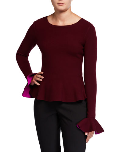 Contrast Knit Long-Sleeve Flare Top