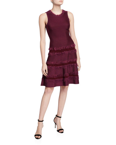 Sleeveless Fringe-Trim Fit-&-Flow Dress