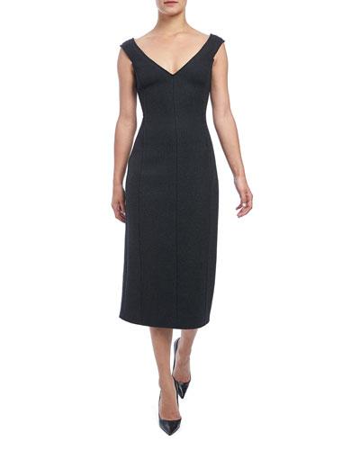 Paneled Off-Shoulder Heavy Wool Dress