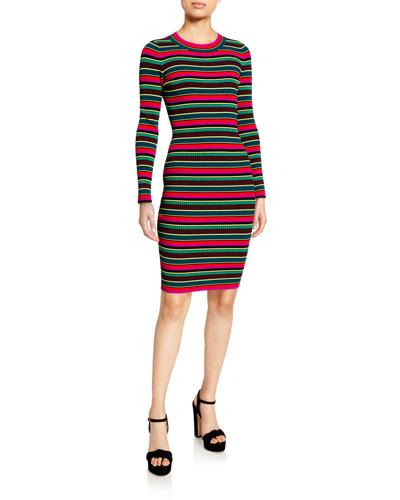Striped Rib Long-Sleeve Ruffle-Cuff Dress
