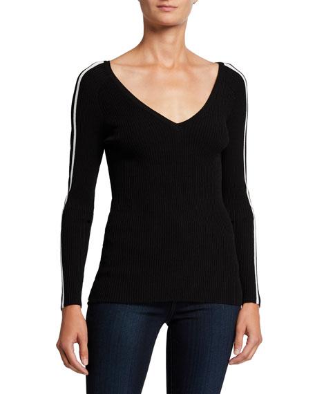 Milly V-Neck Racer Stripe Pullover Sweater
