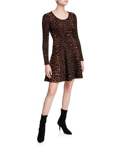 Textured Cheetah Long-Sleeve Fit-&-Flare Dress