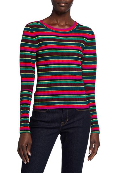 Striped Puff-Sleeve Rib Sweater