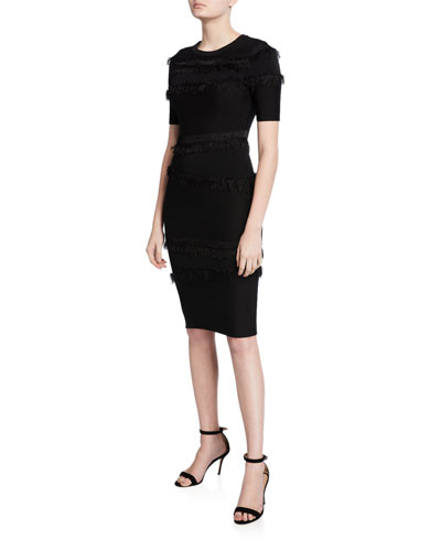 Tiered Fringe Short-Sleeve Fitted Sheath Dress