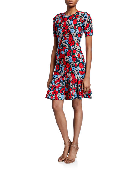 Milly Poppy Jacquard Short-Sleeve Fit-&-Flare Dress