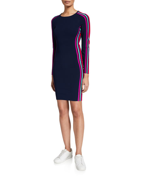 Milly Racer Stripe Long-Sleeve Fitted Dress