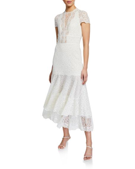 Jonathan Simkhai Multimedia Lace Tiered Midi Dress