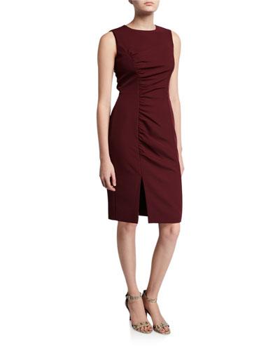 Hera Sleeveless Ruched Sustainable Cady Sheath Dress