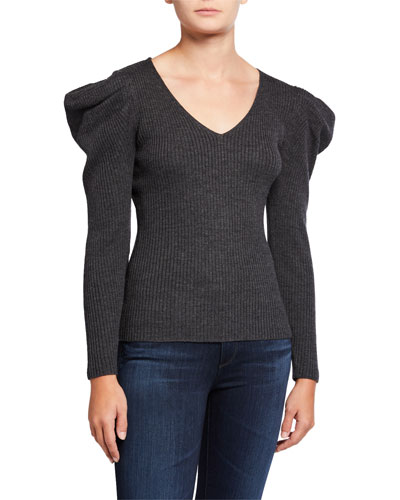 Isabelle V-Neck Puff-Sleeve Ribbed Wool Sweater