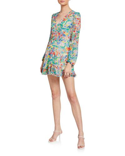 Alya Heart-Print V-Neck Cocktail Dress