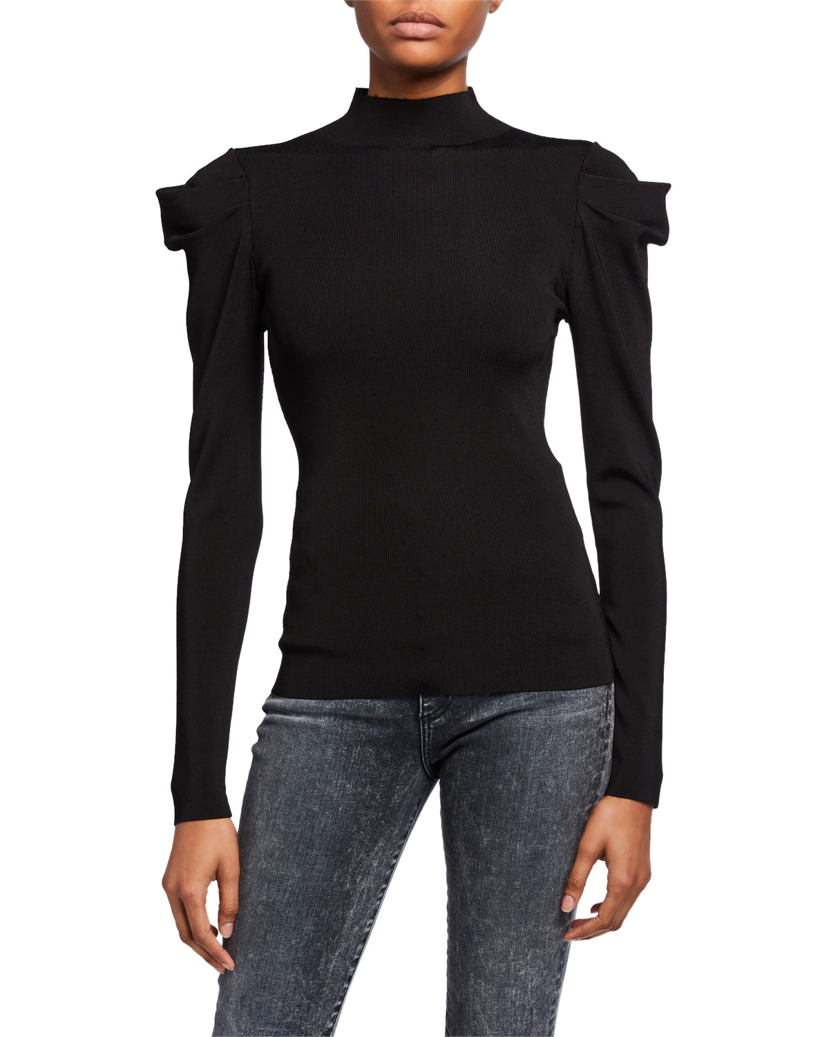 Alice And Olivia Sweaters CECE DRAMATIC PUFF-SLEEVE TURTLENECK SWEATER