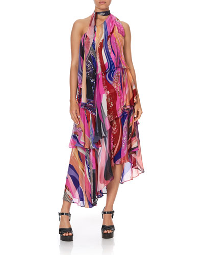Asymmetric Tie-Neck Silk Dress