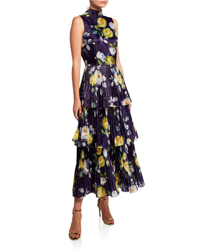 Neon Floral High-Neck Sleeveless Tiered Liquid Organza Dress