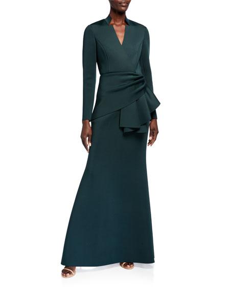 Badgley Mischka Collection Long-Sleeve Drape Waist Scuba Gown