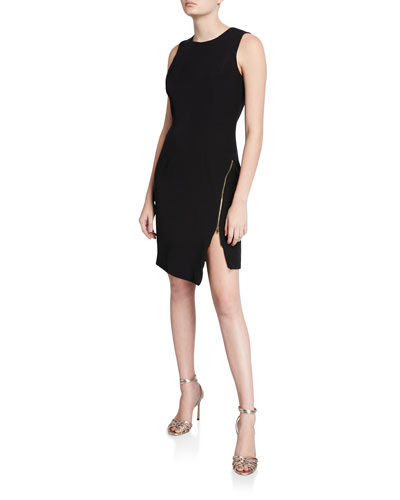 Sleeveless Sustainable Cady Sheath Dress w/ Asymmetric Zipper