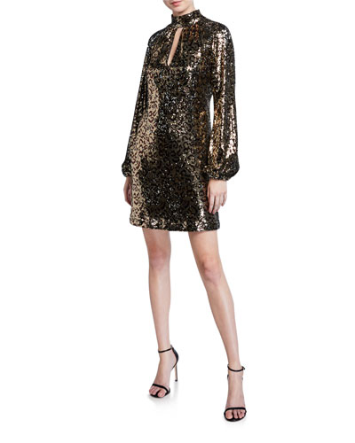 Emily Leopard Sequin Mock-Neck Blouson-Sleeve Shift Dress
