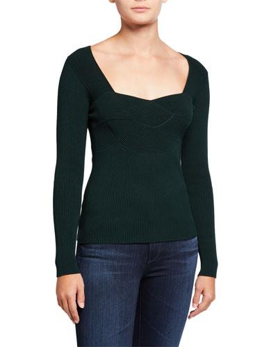 Scoop-Neck Ottoman Sweater