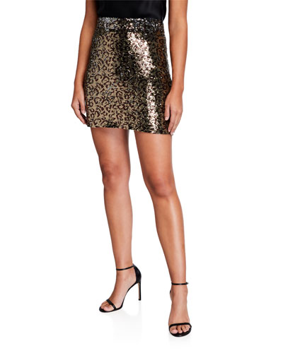 Leopard Sequins Modern Mini Skirt