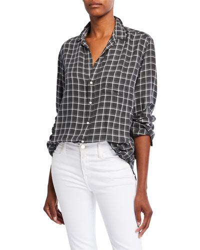 Eileen Check Modal Long-Sleeve Button-Down Shirt