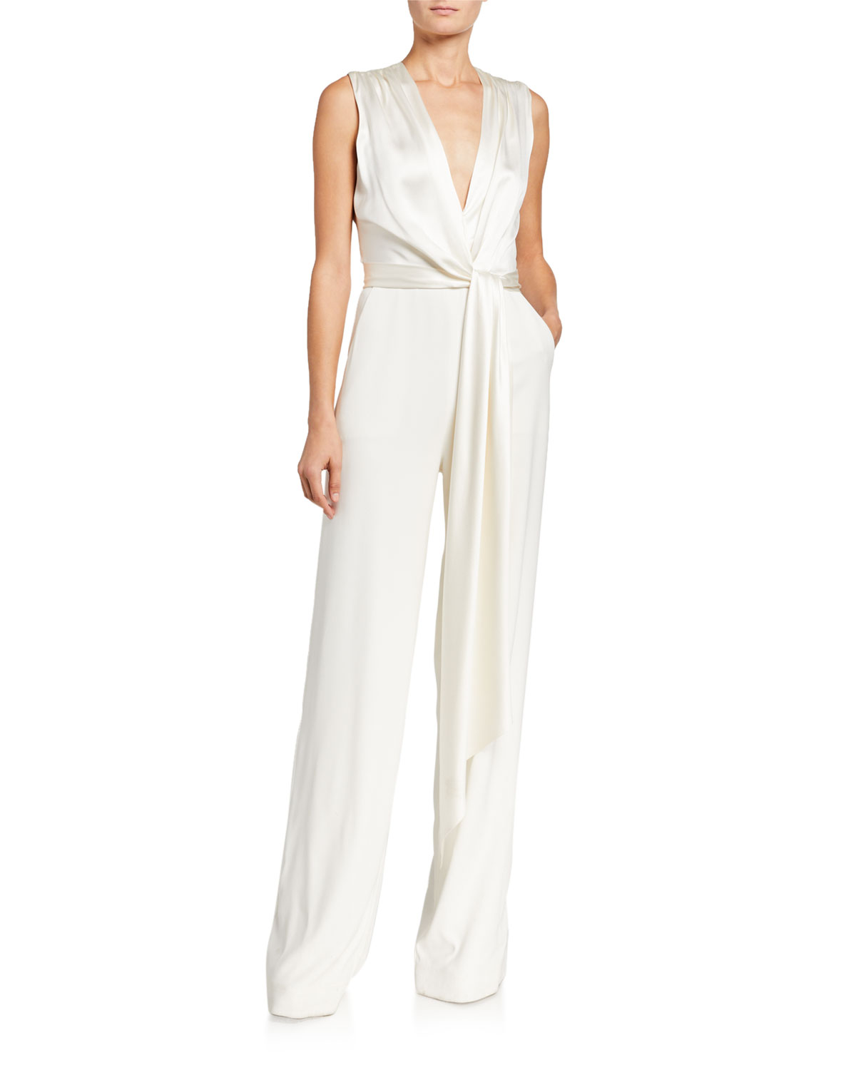 Jonathan Simkhai Suits SATIN COMBO WRAP JUMPSUIT