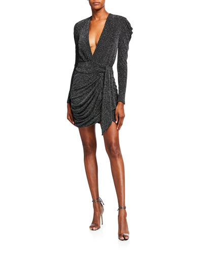 Glitter Jersey Deep V-Neck Long-Sleeve Mini Dress