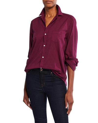 Eileen Long-Sleeve Cotton Poplin Button-Down Shirt