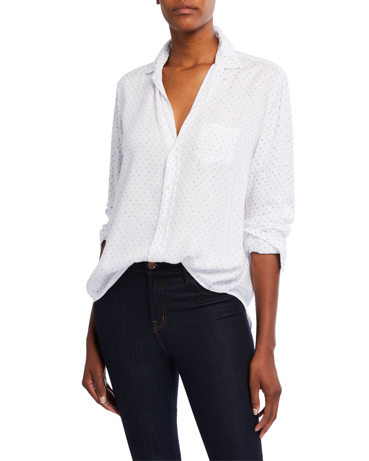 Frank & Eileen Shirts EILEEN POLKA-DOT MODAL LONG-SLEEVE BUTTON-DOWN SHIRT