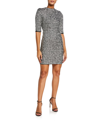 Inka Sequin Mock-Neck Mini Dress