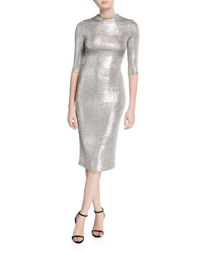 Delora Metallic Fitted Mock-Neck Dress